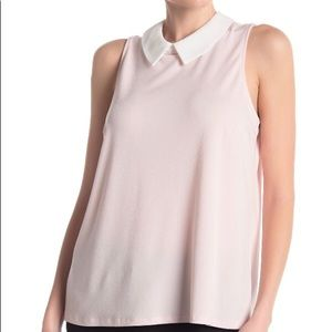 NWT CeCe Pink Whimsical Collared Blouse Crepe Top